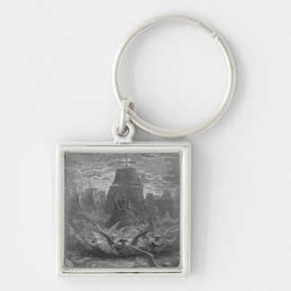 St. Louis  leaving Aigues-Mortes Silver-Colored Square Keychain