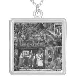 St. Louis  Leaving for the Crusade Square Pendant Necklace