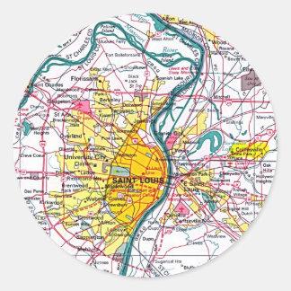 St Louis map Classic Round Sticker