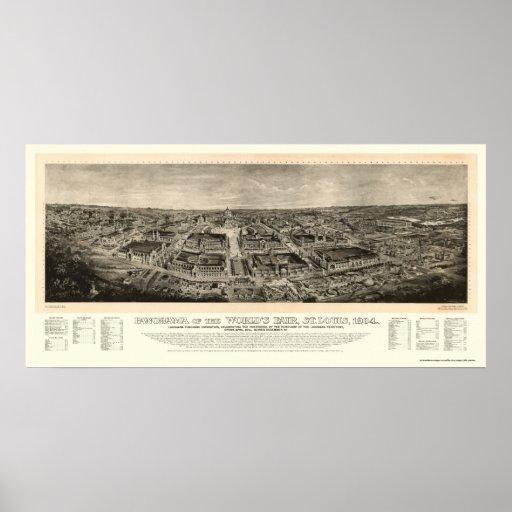 St. Louis, mapa panorámico de la feria de mundo de Póster