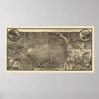 St Louis mapa panorámico del MES - 1876 Impresiones