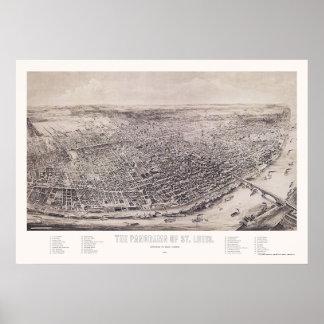 St Louis mapa panorámico del MES - 1894 Impresiones
