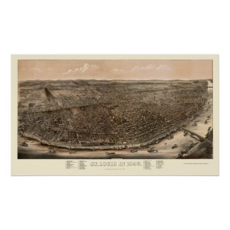 St. Louis, mapa panorámico del MES - 1896 Posters