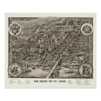 St. Louis, mapa panorámico del MES - 1907 Póster