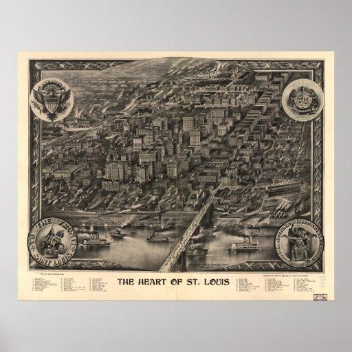 St. Louis Missouri 1907 Antique Panoramic Map Print