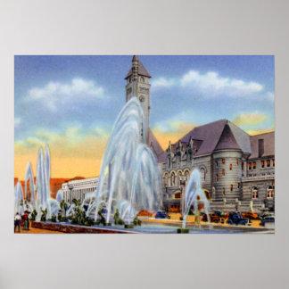 St. Louis Missouri Aloe Plaza Fountain Union Stati Poster