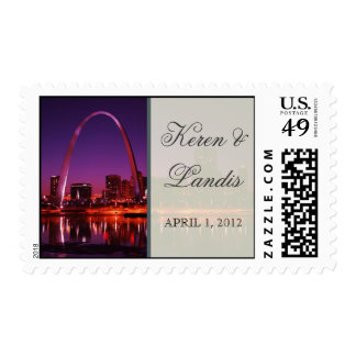St. Louis Missouri Arch Wedding stamp with names