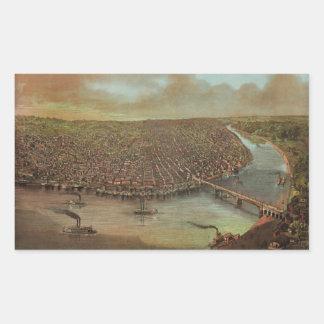 St. Louis Missouri by George Degen from 1873 Rectangular Sticker