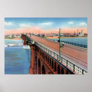 St. Louis Missouri Eads Bridge over River Poster