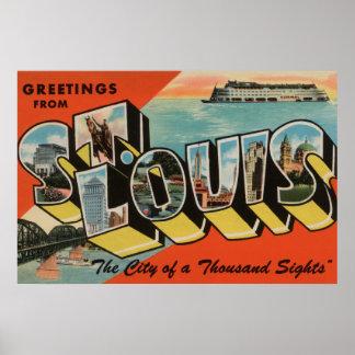 St. Louis, Missouri - Large Letter Scenes 2 Posters