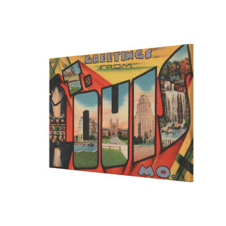 St Louis Missouri - Large Letter Scenes 3 Gallery Wrapped Canvas