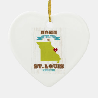 St Louis, Missouri Map – Home Is Where The Heart Double-Sided Heart Ceramic Christmas Ornament