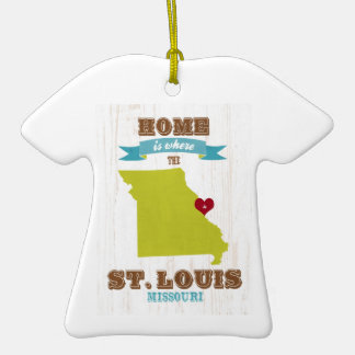 St Louis, Missouri Map – Home Is Where The Heart Double-Sided T-Shirt Ceramic Christmas Ornament