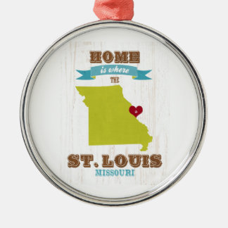 St Louis, Missouri Map – Home Is Where The Heart Round Metal Christmas Ornament