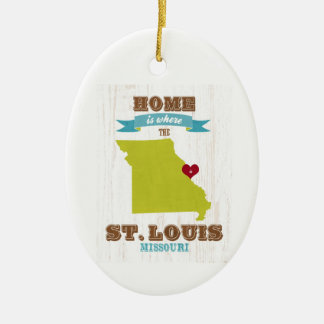 St Louis, Missouri Map – Home Is Where The Heart Double-Sided Oval Ceramic Christmas Ornament