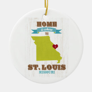 St Louis, Missouri Map – Home Is Where The Heart Double-Sided Ceramic Round Christmas Ornament