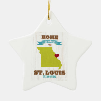St Louis, Missouri Map – Home Is Where The Heart Double-Sided Star Ceramic Christmas Ornament
