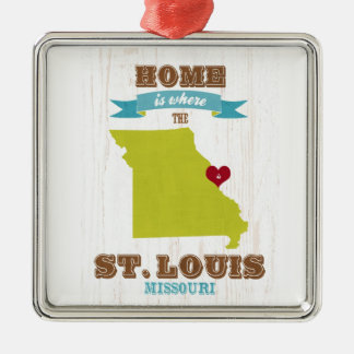 St Louis, Missouri Map – Home Is Where The Heart Square Metal Christmas Ornament
