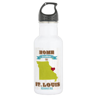 St Louis, Missouri Map – Home Is Where The Heart Stainless Steel Water Bottle