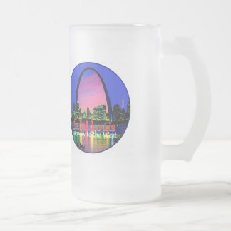 St. Louis Missouri 16 Oz Frosted Glass Beer Mug