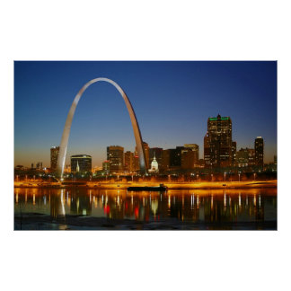 St. Louis Missouri on the Mississippi by Night Print