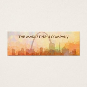 USA Themed St Louis, Missouri Skyline IN CLOUDS Mini Business Card