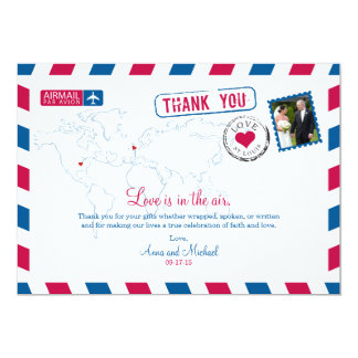 St. Louis Missouri & UK Airmail Wedding Thank You Card