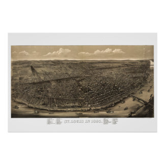 St Louis Mo - Aerial view map 1859 Posters
