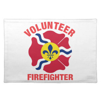 St Louis, MO Flag Volunteer Firefighter Cross Cloth Placemat