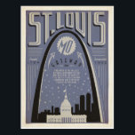 "St Louis, MO - Gateway City Postcard<br><div class=""desc"">Anderson Design Group is an award-winning illustration and design firm in Nashville,  Tennessee. Founder Joel Anderson directs a team of talented artists to create original poster art that looks like classic vintage advertising prints from the 1920s to the 1960s.</div>"