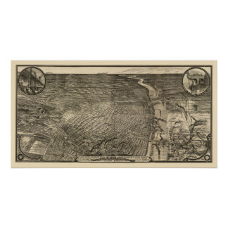 St. Louis, MO Panoramic Map - 1876 Poster