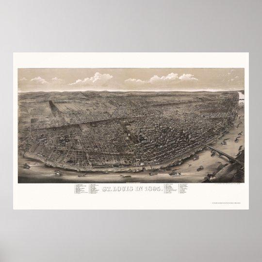St Louis, MO Panoramic Map - 1895 Poster