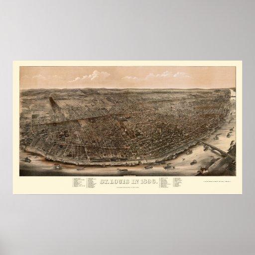 St. Louis, MO Panoramic Map - 1896 Poster