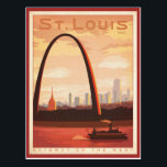"""St Louis, MO Postcard<br><div class=""""desc"""">Anderson Design Group is an award-winning illustration and design firm in Nashville,  Tennessee. Founder Joel Anderson directs a team of talented artists to create original poster art that looks like classic vintage advertising prints from the 1920s to the 1960s.</div>"""