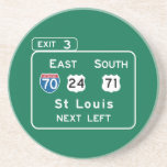 St. Louis, MO Road Sign Drink Coasters