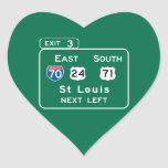 St. Louis, MO Road Sign Heart Stickers