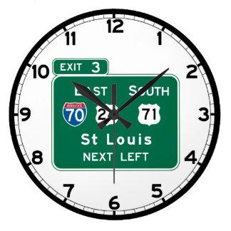 St. Louis, MO Road Sign Large Clock