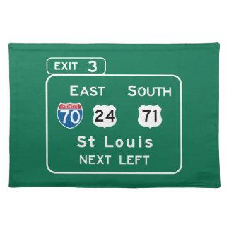 St. Louis, MO Road Sign Place Mats