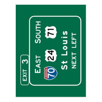 St. Louis, MO Road Sign Postcards