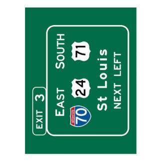 St. Louis, MO Road Sign Postcard