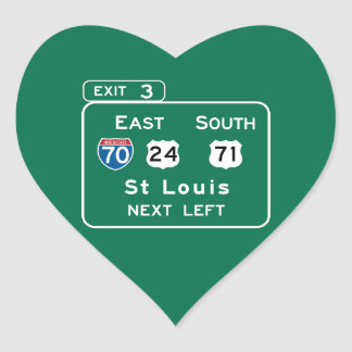 St. Louis, MO Road Sign Heart Sticker