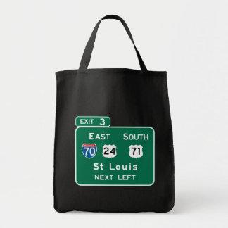 St. Louis, MO Road Sign Tote Bag