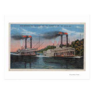 St. Louis, MO - View of Natchez & Robert E. Lee Postcard