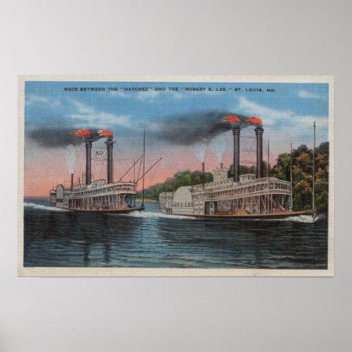 St. Louis, MO - View of Natchez & Robert E. Lee Poster