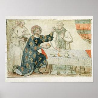 St. Louis que alimenta a un monje mezquino Póster