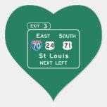 St. Louis, señal de tráfico del MES Calcomanías Corazones Personalizadas