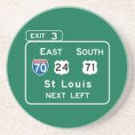 St. Louis, señal de tráfico del MES Posavasos Personalizados