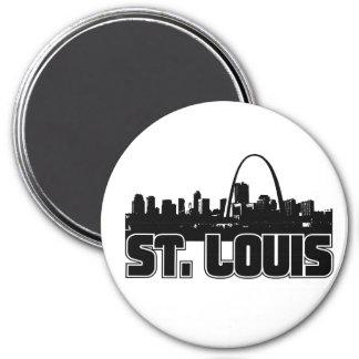 St Louis Skyline 3 Inch Round Magnet