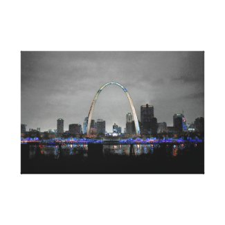 St. Louis Skyline Art B/W w/selective color Canvas Print