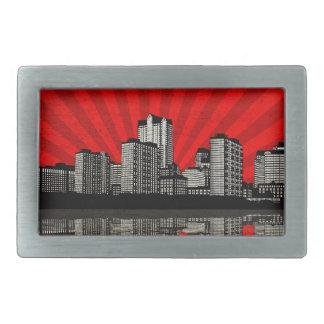 St. Louis Skyline Belt Buckle (red - detail)